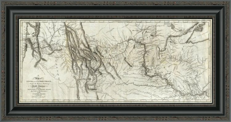 'Map of Lewis and Clark's Track; Across the Western Portion of North America; 1814' Framed Print