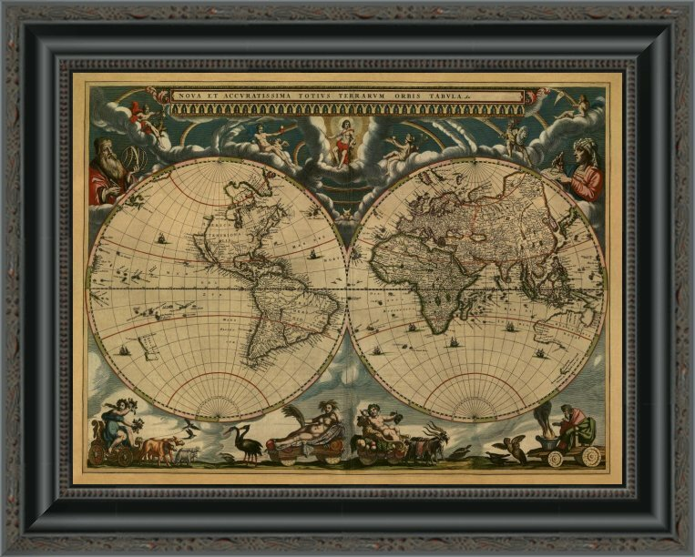 'New & Accurate Map of the World' Framed Print