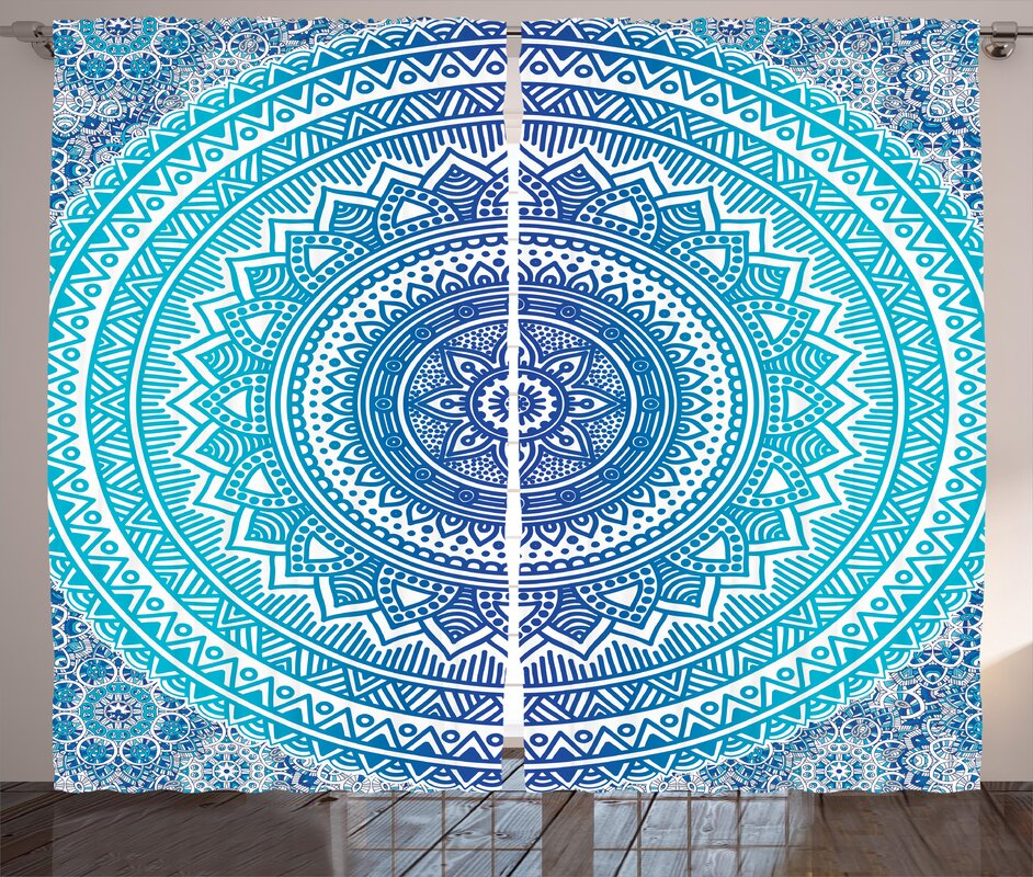 Brookdene Indian Spiritual Ritual Symbol of Universe Cultural Center Point Balance Meditation Theme Graphic Print & Text Semi-Sheer Rod Pocket Curtain Panels (Set of 2)