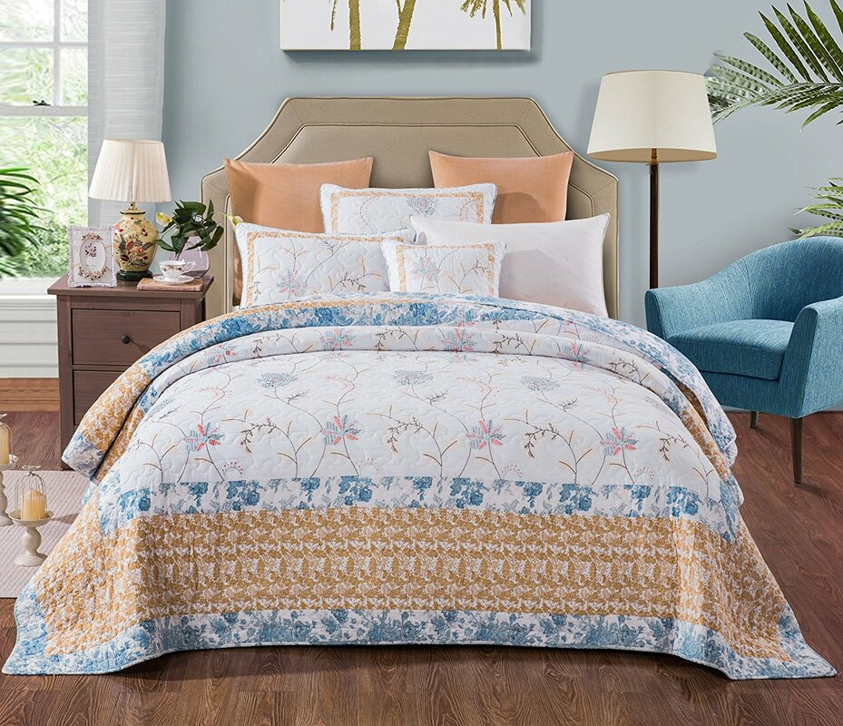 Belina Cotton Floral Embroidery Quilt