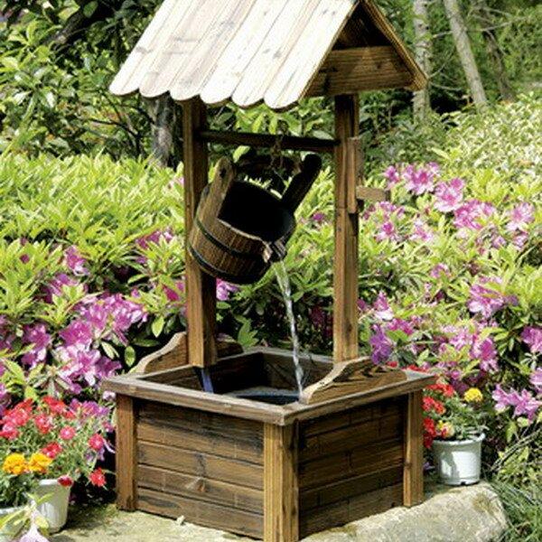 Wood Wishing Well Outdoor Patio Water Fountain