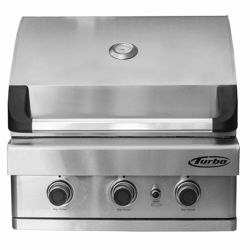 "Turbo 3-Burner 26"" Built-In Gas Grill"