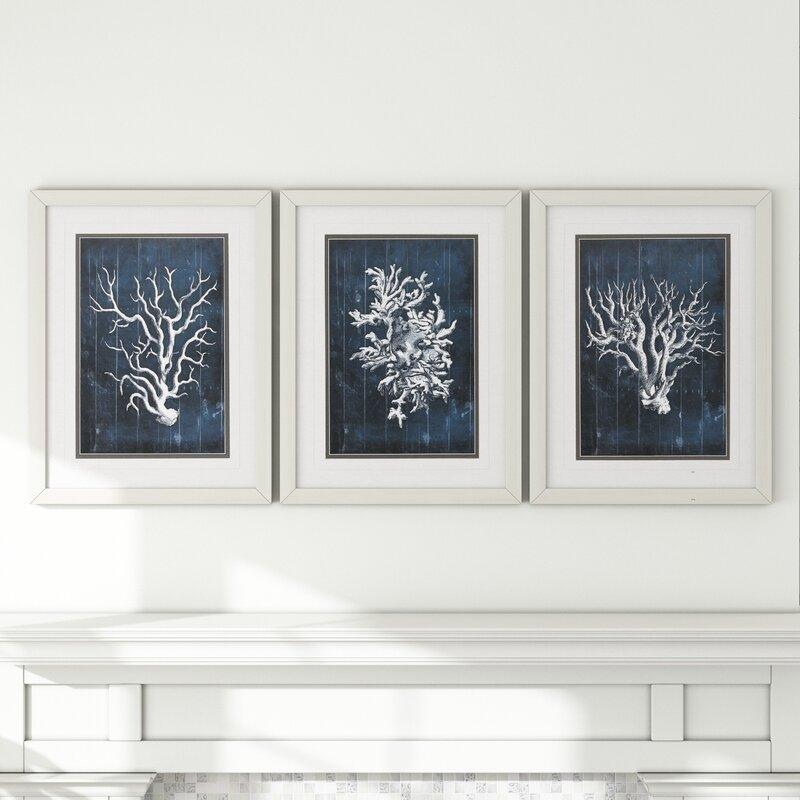 'Wood Coral' 3 Piece Framed Graphic Art Set in Blue