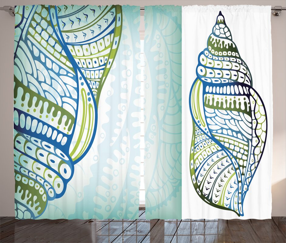 Abstract Seashell Nautical Room Darkening Rod Pocket Curtain Panels (Set of 2)