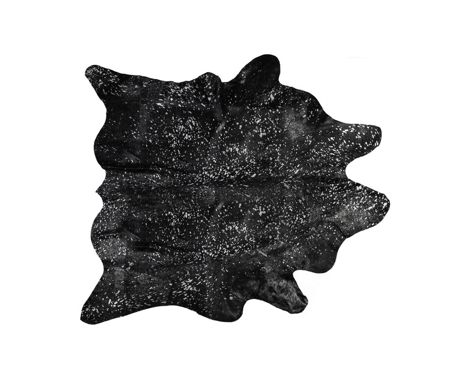 Houchin Hand-Woven Cowhide Black/Silver Area Rug