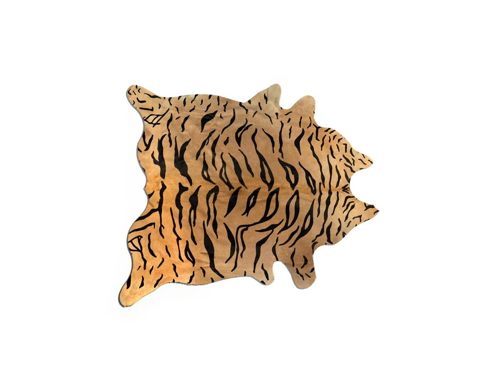 Grady Hand-Woven Cowhide Tiger Chocolate/Beige Area Rug
