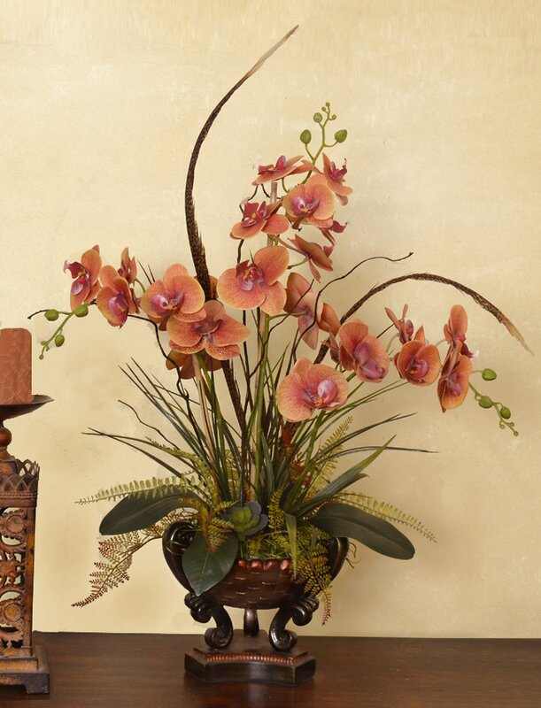 Phalaenopsis with Feathers Orchid Floral Arrangement in Vase