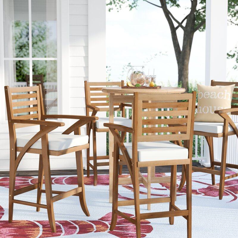 """Docklands 29"""" Patio Bar Stool with Cushion (Set of 4)"""