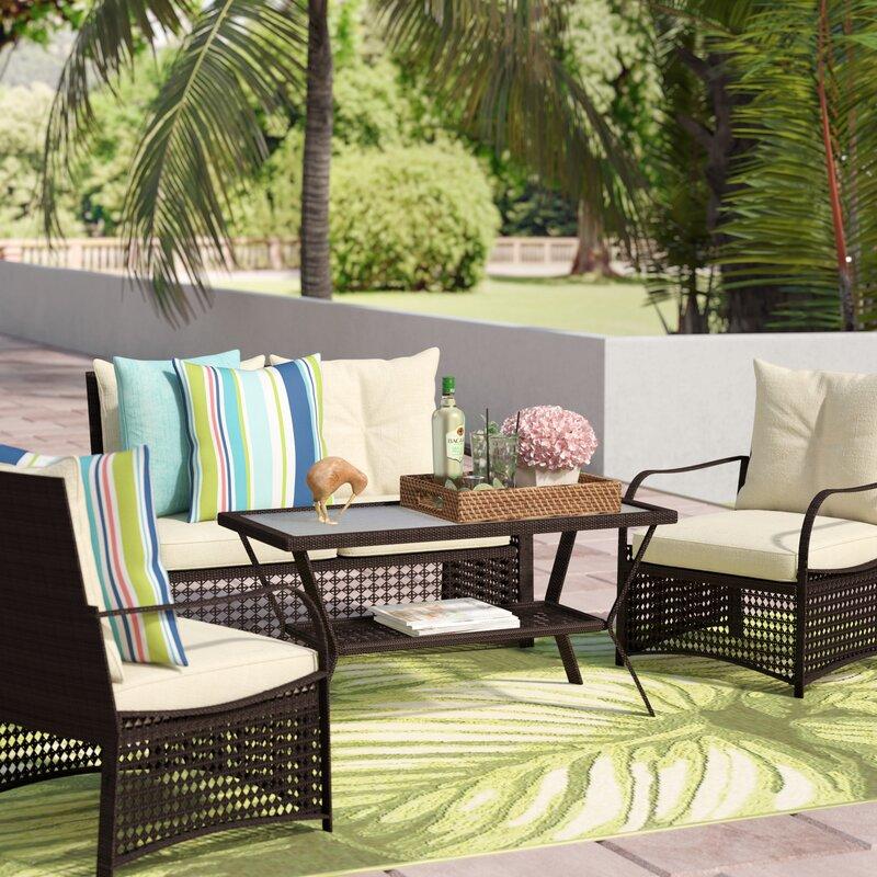 Ellenberger 4 Piece Sofa Set with Cushions