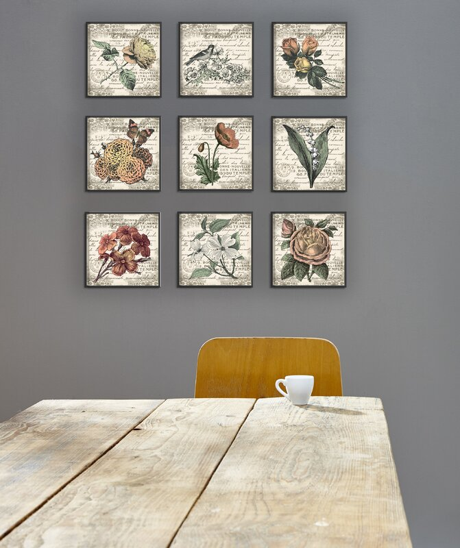 'French Botanical Illustrations' 9 Piece Canvas Wall Art Set