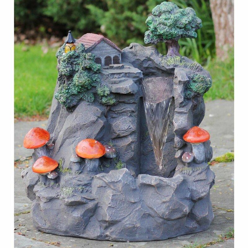 Polystone Solar Mushrooms Fountain with Light