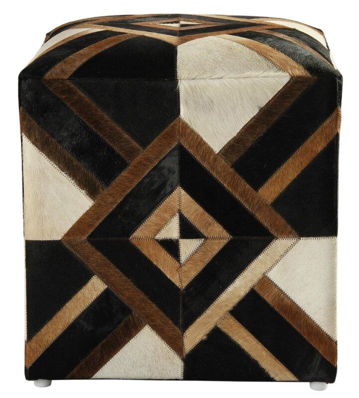 Riley Diamond Leather Cube Ottoman