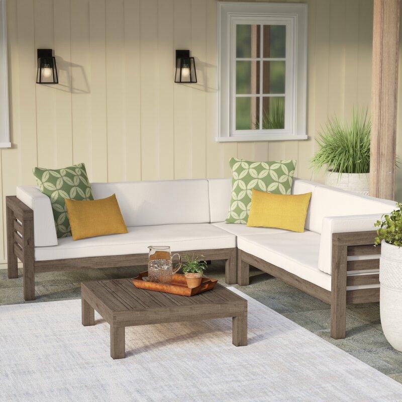 Birdsboro 4 Piece Sectional Set with Cushions