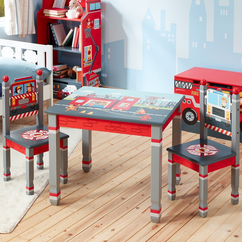 Little Fire Fighters Kids 3 Piece Writing Table and Chair Set