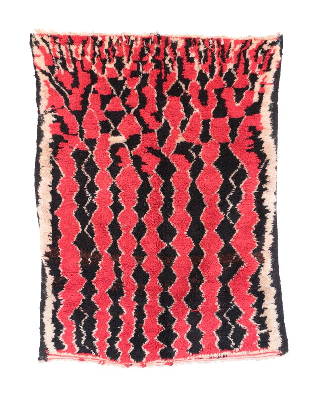 Azilal Vintage Moroccan Hand Knotted Wool Coral/Black Area Rug