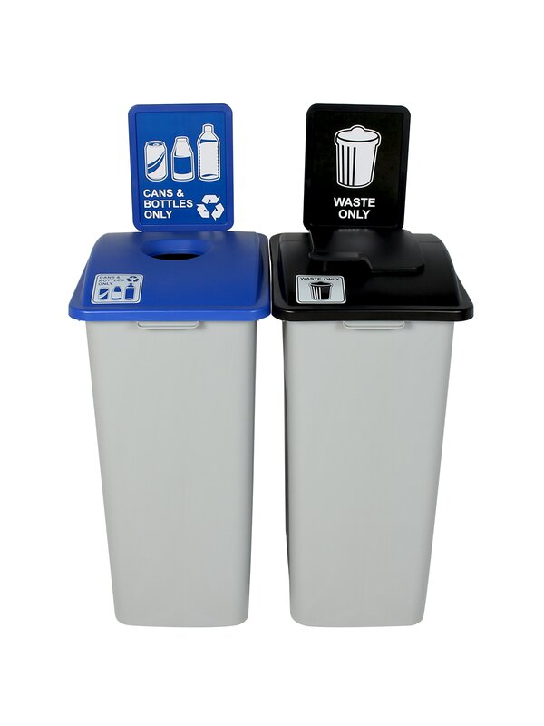 Waste Watcher® Cans and Bottles Solid Double 64 Gallon 2 Piece Recycling Bin Set