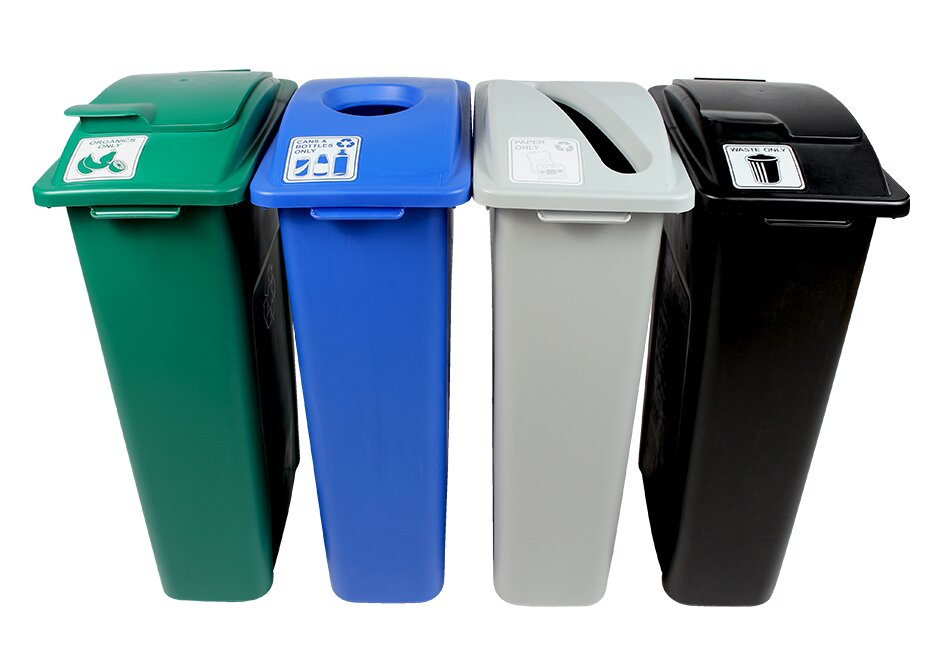Waste Watcher Organics Paper, Cans and Bottles, Slot Circle Solid Lift Quad 92 Gallon 4 Piece Recycling Bin Set.