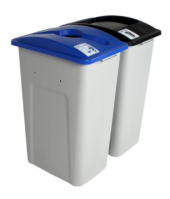 Waste Watcher® Mixed Recyclables 64 Gallon 2 Piece Recycling Bin Set