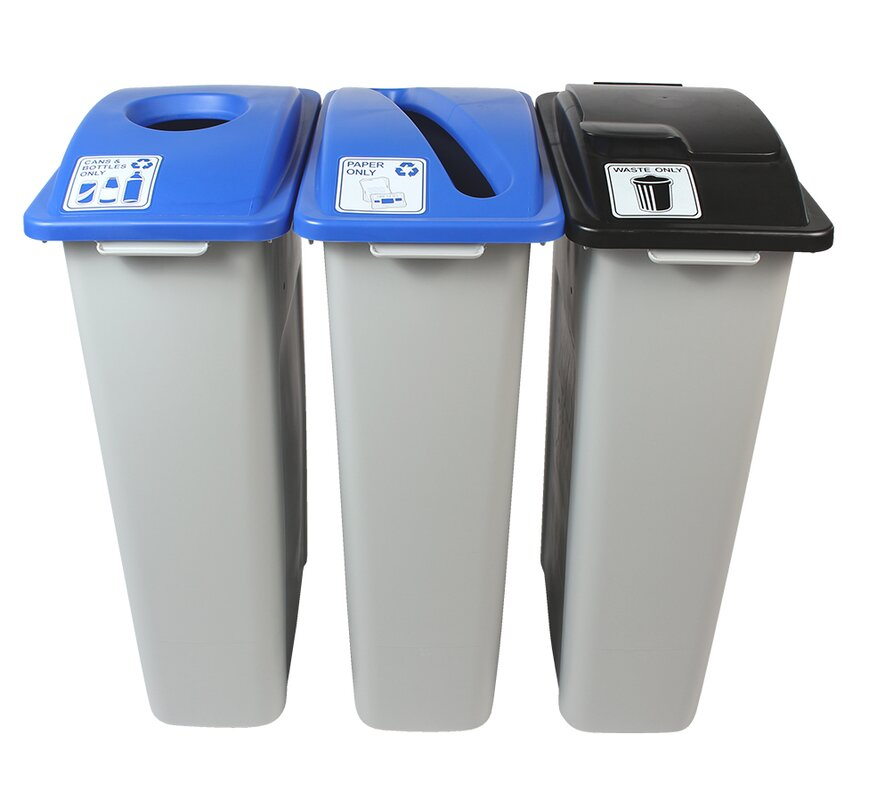Waste Watcher® Paper, Cans and Bottles Slot Circle Solid Lift Triple 69 Gallon 3 Piece Recycling Bin Set