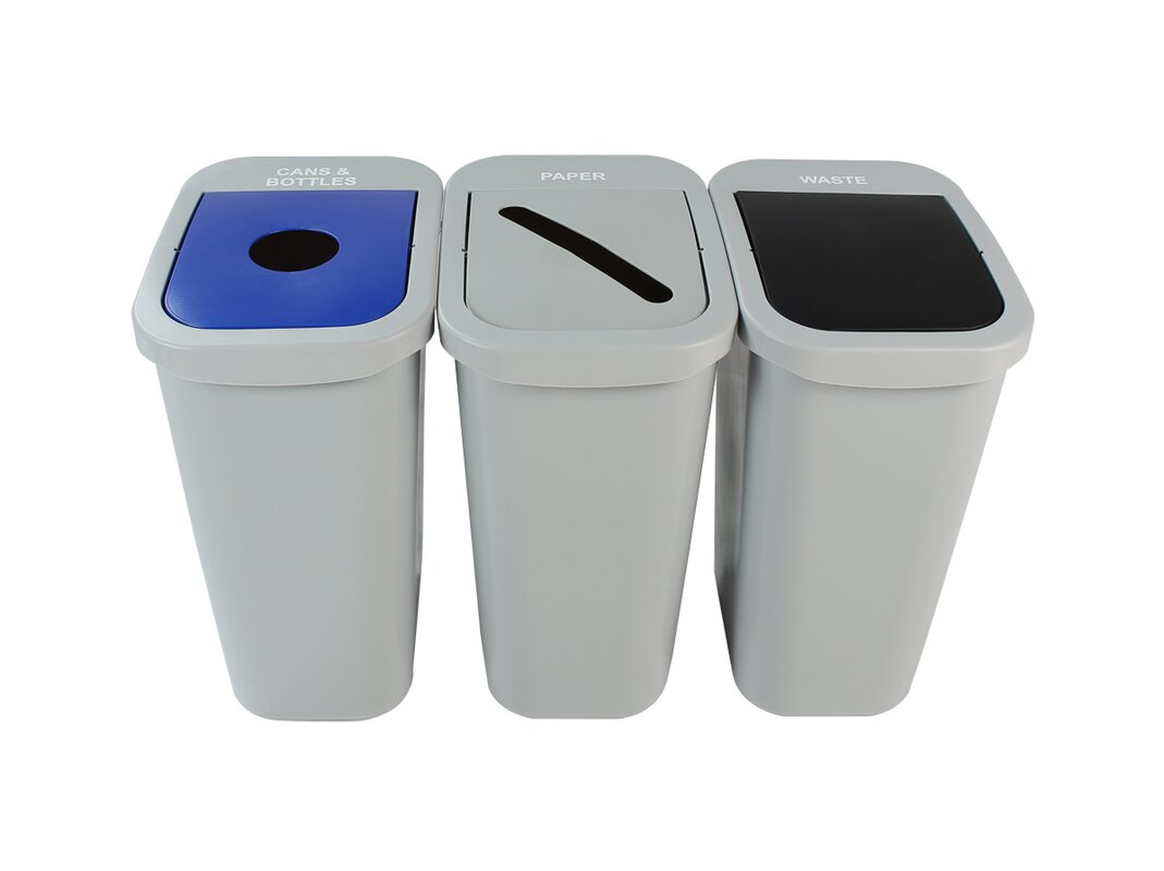 Billi Box Cans, Bottles and Paper 3 Piece 10 Gallon Recycling Bin Set