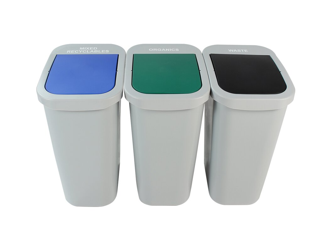 Billi Box Mixed Recyclables and Organics 3 Piece 10 Gallon Recycling Bin Set