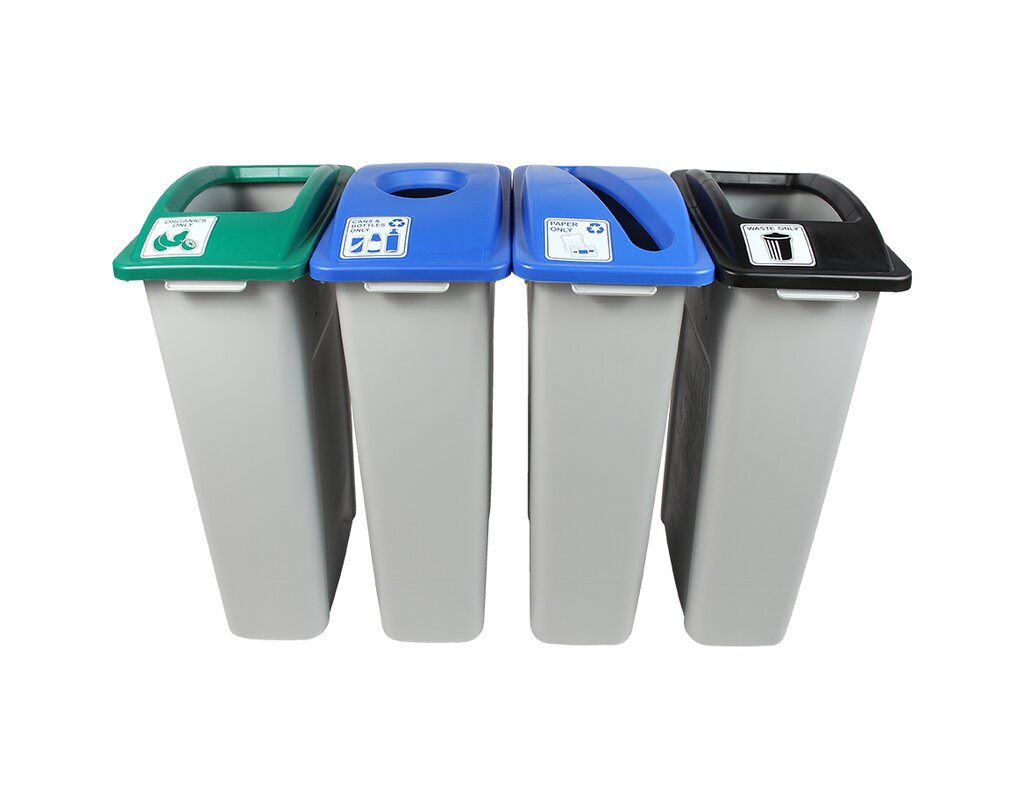 Waste Watcher® Paper, Cans and Bottles Slot Compost Circle Quad 92 Gallon 4 Piece Recycling Bin Set