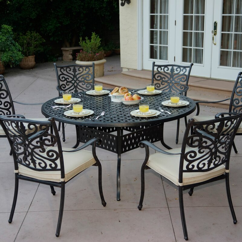 Archway 7 Piece Metal Dining Set with Cushions