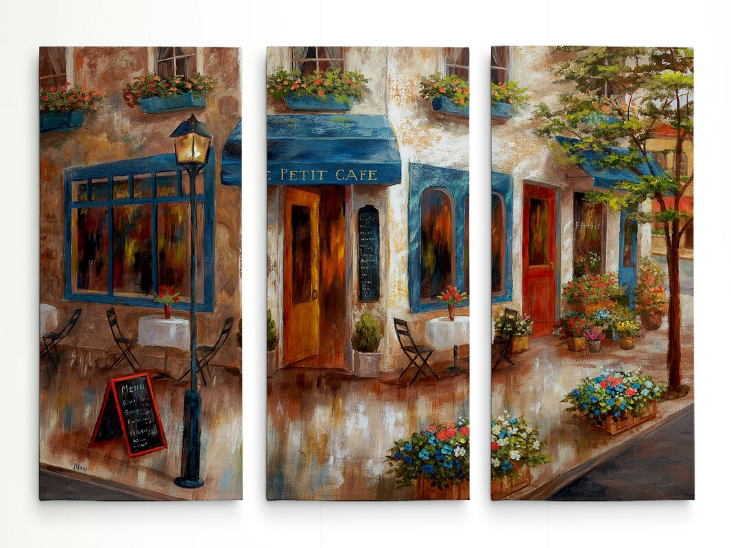 'Le Petit Cafe' Acrylic Painting Print Multi-Piece Image on Gallery Wrapped Canvas