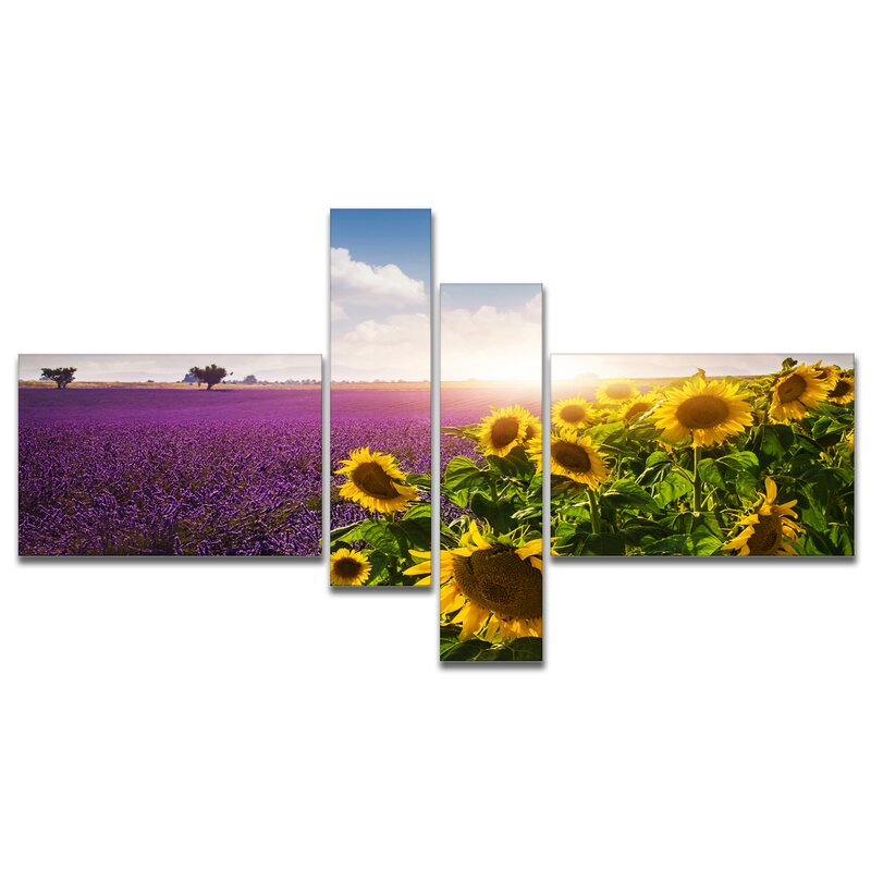'Lavender and Sunflower Fields' Photographic Print Multi-Piece Image on Canvas