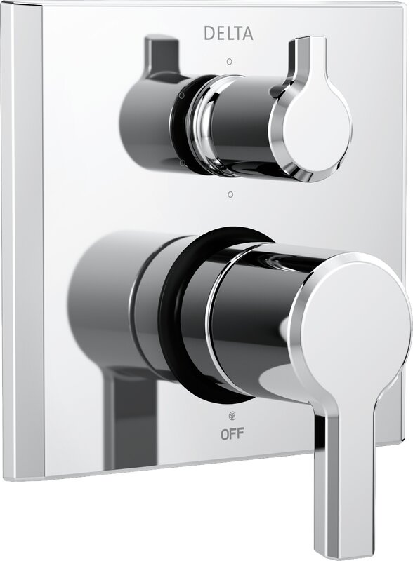 Pivotal Monitor 14 Series Double Handle Valve Trim with 6-Setting Diverter