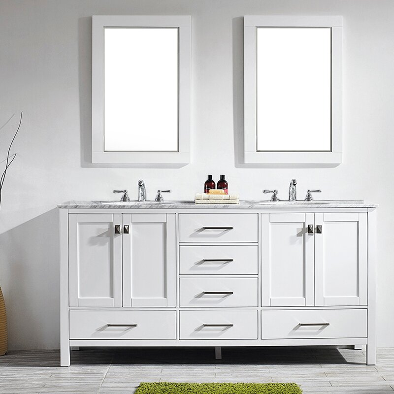 "Newtown 72"" Double Bathroom Vanity Set with Mirror"