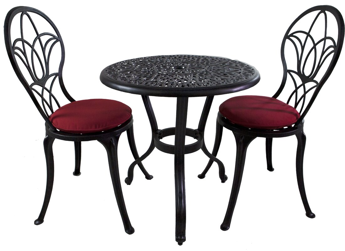 Mcmullan 3 Piece Sunbrella Bistro Set with Cushions