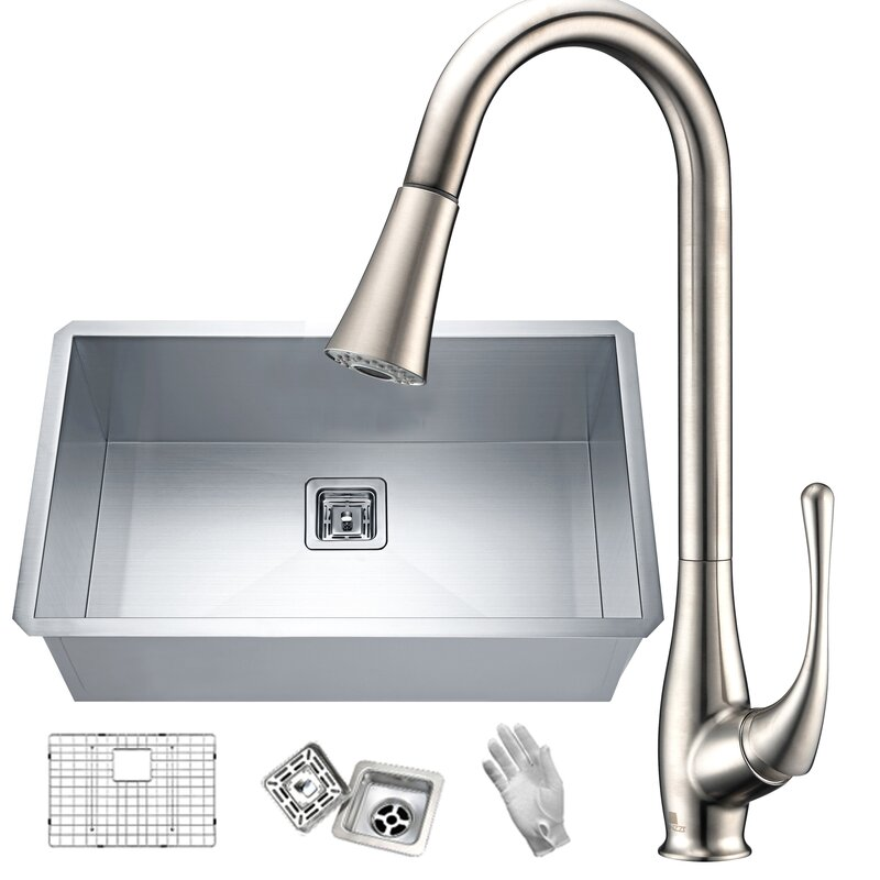 "Vanguard Stainless Steel 30"" L x 18"" W Undermount Kitchen Sink with Faucet"