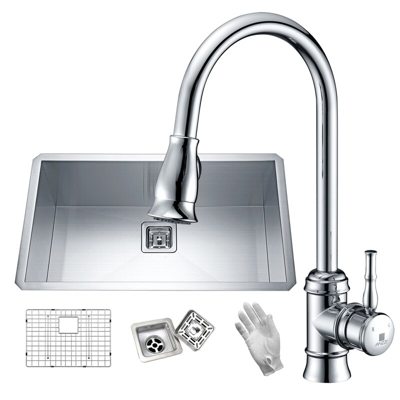 "Vanguard Stainless Steel 32"" L x 19"" W Undermount Kitchen Sink with Faucet"