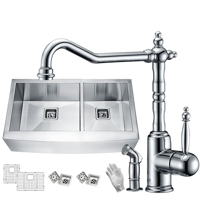"Elysian Stainless Steel 33"" L x 21"" W Double Basin Farmhouse Kitchen Sink with Faucet"