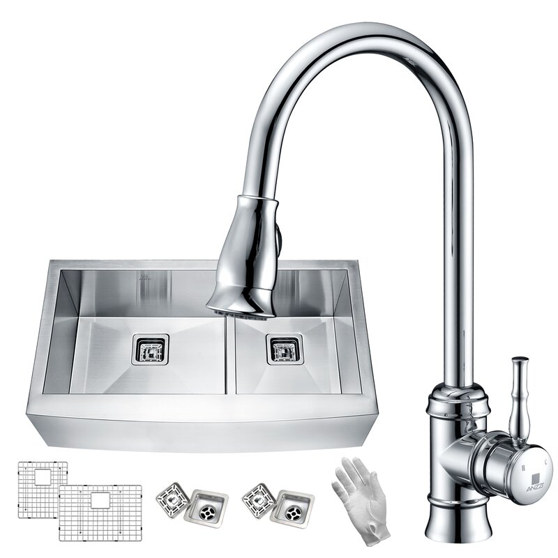"Elysian 33"" x 21"" Double Basin Farmhouse Kitchen Sink with Faucet"