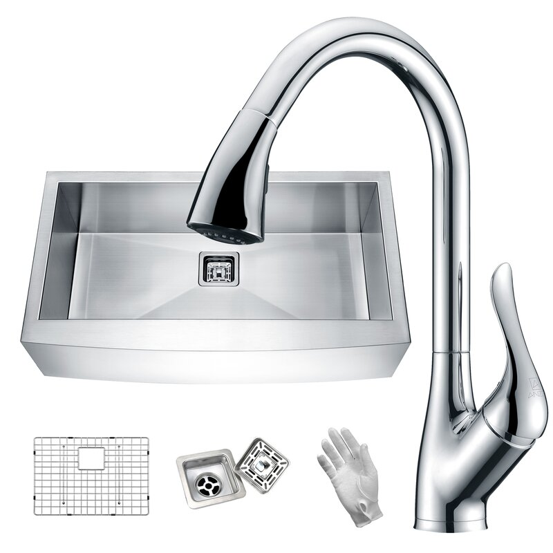 "Elysian 36"" x 21"" Farmhouse Kitchen Sink with Faucet"