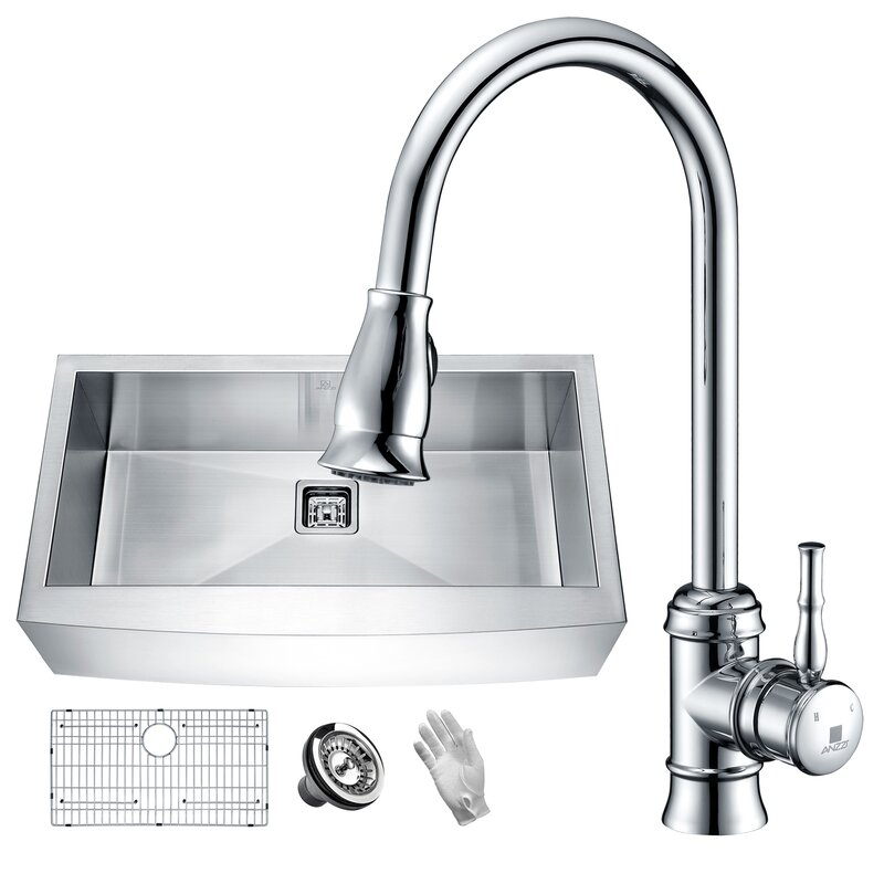 "Elysian Stainless Steel 36"" L x 21"" W Farmhouse Kitchen Sink with Faucet"