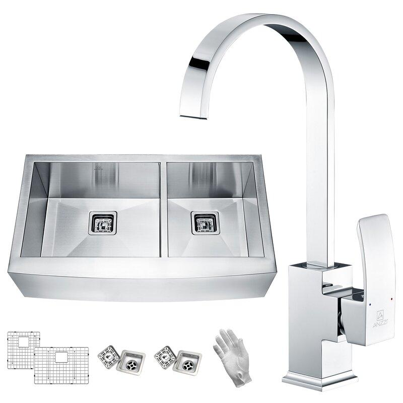 "Elysian 36"" x 21"" Double Basin Farmhouse Kitchen Sink with Faucet"