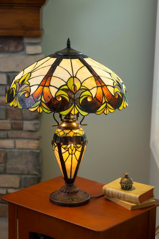 "Crepeau Double Lit Tiffany 24"" Table Lamp"