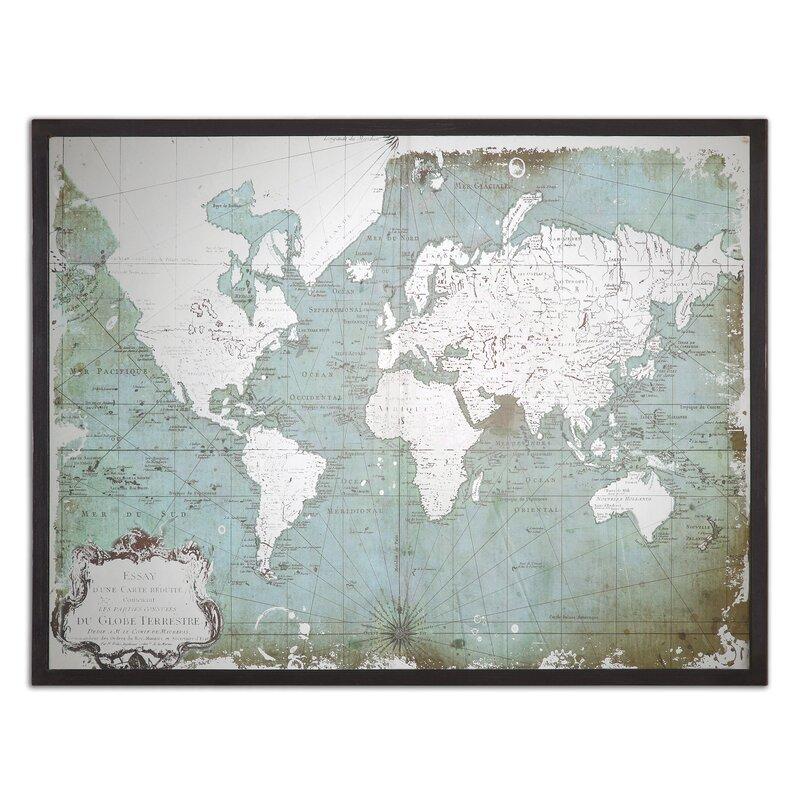 'Mirrored World Map' Framed Graphic Art