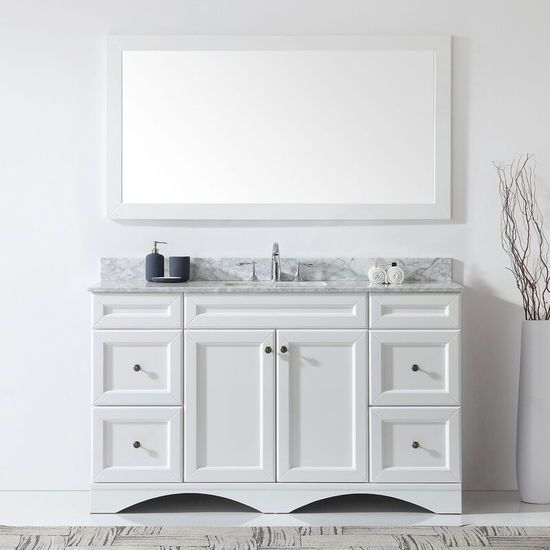 "Kauffman 59.1"" Single Bathroom Vanity Set With White Marble and Mirror"