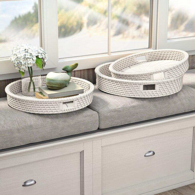 Winterview Artisanal Woven Round 3 Piece Serving Tray Set