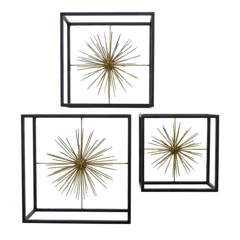 3 Piece Geometric Sunburst Wall Décor Set