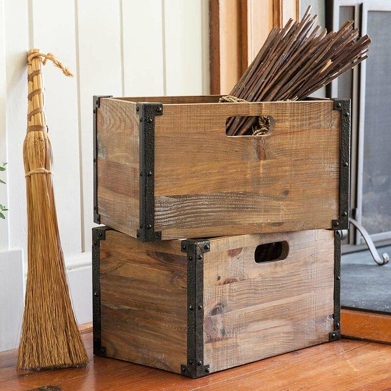 Deep Creek Rustic Storage Solid Wood Crate (Set of 2)