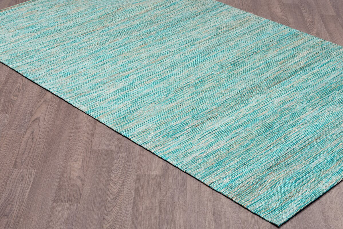 Locking Hand Woven Natural Aqua Area Rug