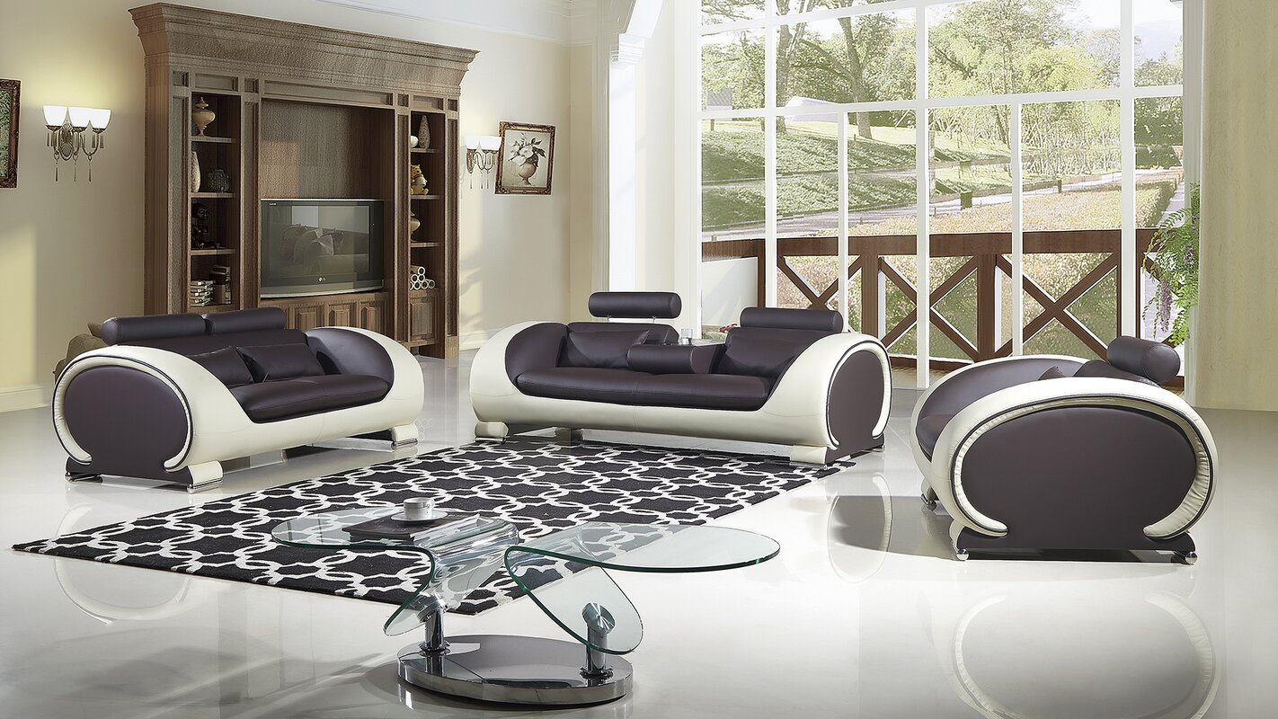 Shryock 2 Tone 3 Piece Living Room Set