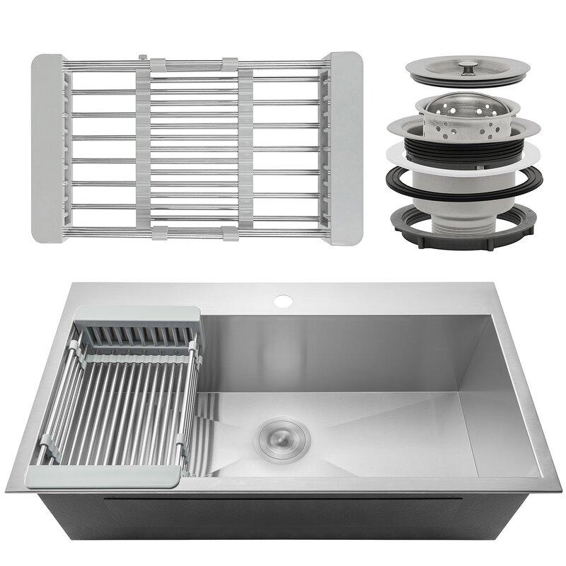 """32"""" x 18"""" Drop-In Kitchen Sink with Basket Strainer"""