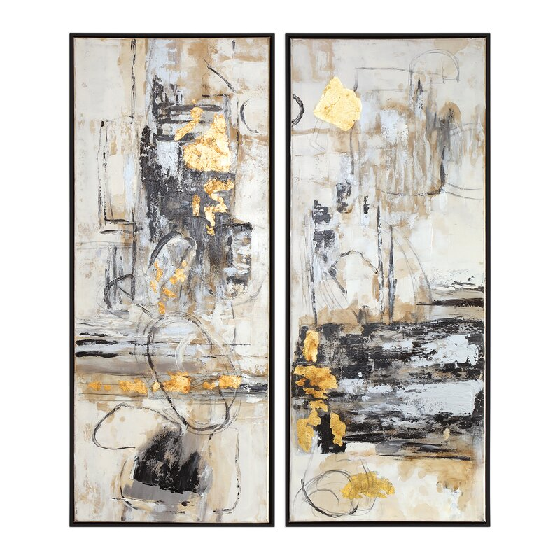 'Life Scenes' 2 Piece Framed Oil Painting Print Set on Canvas