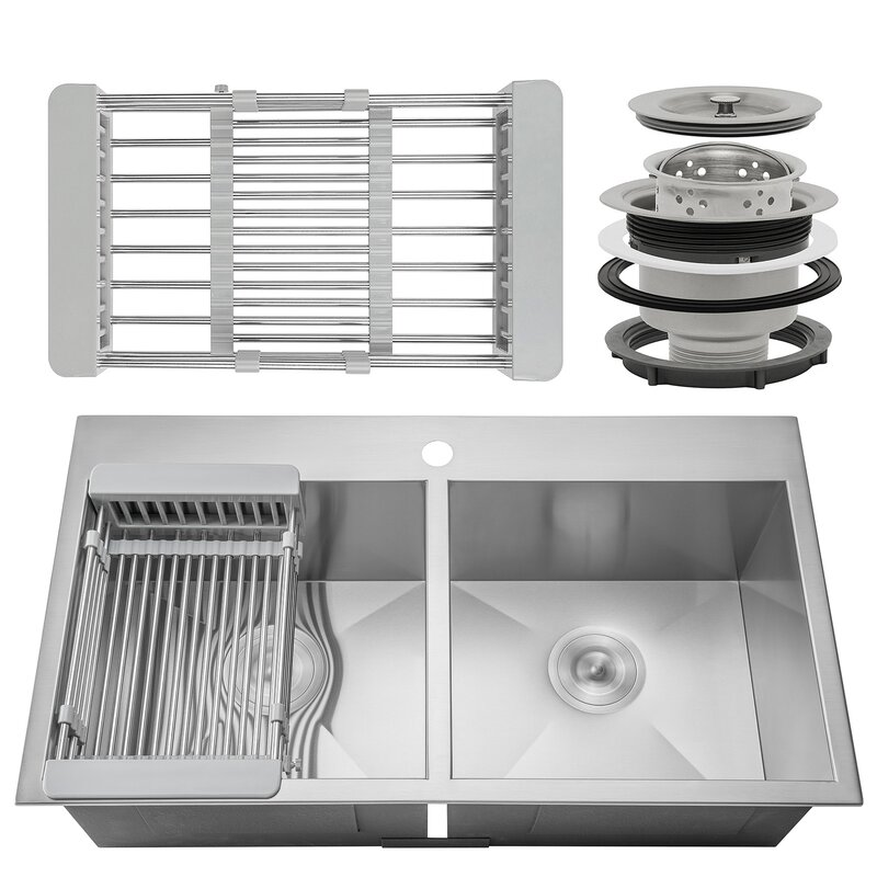"""33"""" x 22"""" Double Basin Drop-In Kitchen Sink with Basket Strainer"""